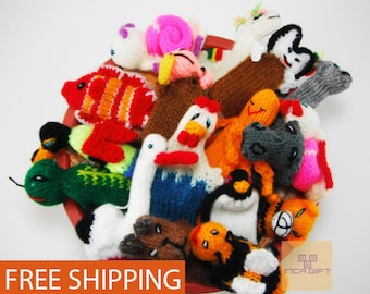 5 PACK 10 PACK WILD Animals Hand Knitted Finger Puppets - Educational finger puppets made by Peruvian Artisans