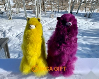 13 IN 9 IN Handmade Alpaca Stuffed Animal Plush Alpaca 13 -9 IN/ yellow purple   fur  alpaca handmade Peruvian alpaca fur stuffed