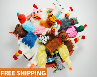 5 PACK 10 PACK FARM Animals Hand Knitted Finger Puppets - Educational finger puppets made by Peruvian Artisans - School Children Role Play