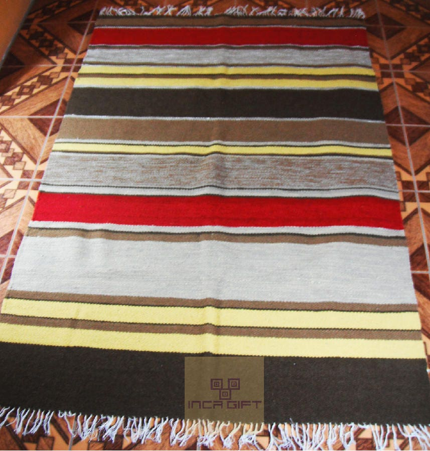 Peruvian Rug Genuine Handmade Loomed Alpaca Sheep Wool