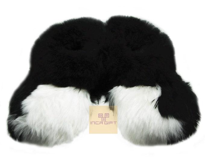 Warm, 100% Baby Alpaca Fur Fuzzy Slippers- Suri Slipper for Men,  Women, Luxury Gift for any occasion  Mix Black - White