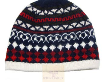 100% ALPACA - alpaca hat handmade in Peru -  Alpaca hat for women Winter Hat fancy hat -Peruvian Hat -Peruvian Products  Navy
