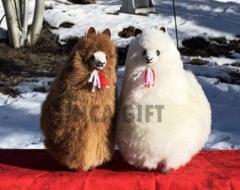 7 IN Handmade Baby Alpaca Mini Stuffed Animal Plush Alpaca  7 - 8   IN/ Llama  fur teddy alpaca Peruvian alpaca fur stuffed animal toy