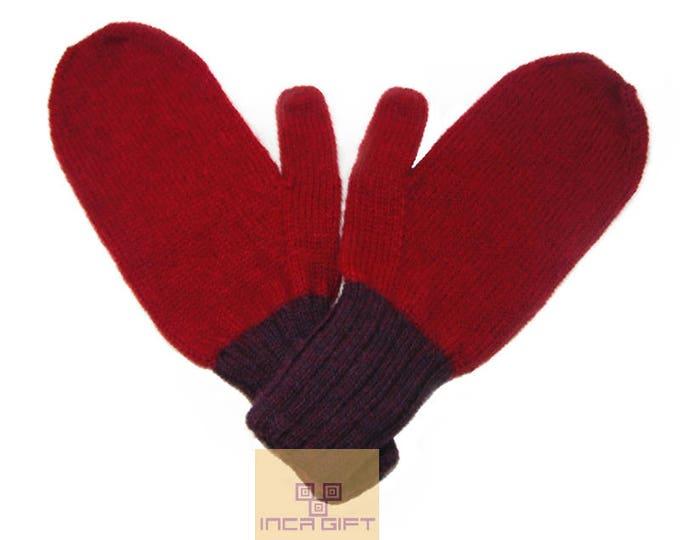 100% ALPACA - Alpaca mittens handmade in Peru -for men women winter mittens fancy -Snow Mittens Peruvian Products Mix Color Red - Purple
