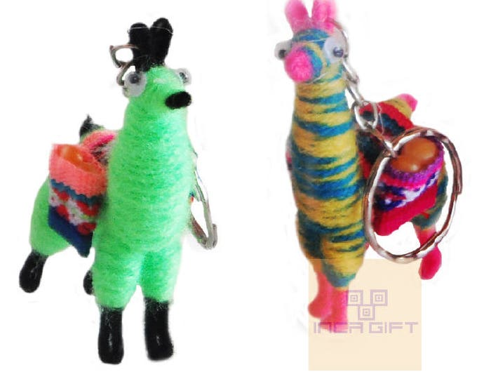 10 PACK - 20 PACK Tiny Llama Keychain ethnic decoration gift bag accessories, Andean Collectible Handcrafted Miniature Figurine
