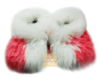 Warm, 100% Baby Alpaca Fur Fuzzy Slippers- Suri Slipper for  Women, Luxury Gift for any occasion  Mix Rose- White