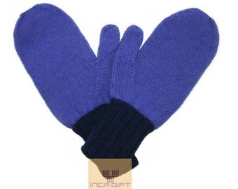100% ALPACA - Alpaca mittens handmade in Peru -for men women winter mittens fancy -Snow Mittens Peruvian Products Mix Color Lavender