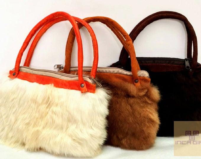 "8""  Fur Mini Premium Alpaca Bag -no kill alpaca, Suri handbag, fur bag, alpaca bag, ethically sourced, eco conscious"