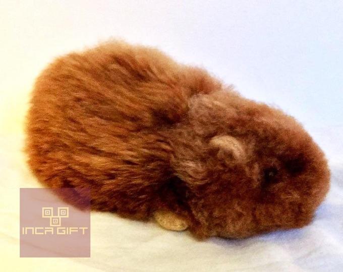 FREE SHIPPING to Usa -Handmade Peruvian  Stuffed Alpaca Fur Guinea Pig 5 IN  Brown/  Alpaca Stuffed Toy / Alpaca Stuffed Animal