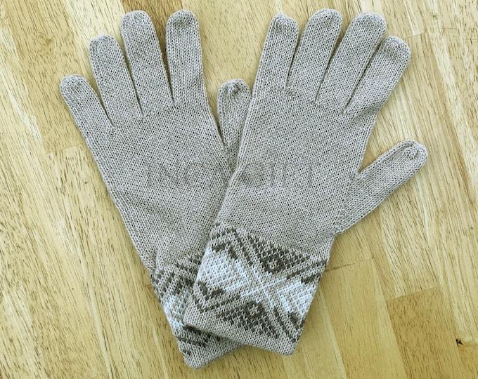 100% ALPACA -Beige  Melange alpaca gloves handmade in Peru - Alpaca gloves for women -Peruvian Products