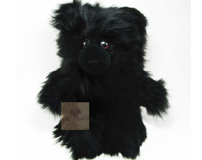 Real Super Baby Alpaca Suri Teddy  Bear Black Peruvian Stuffed Alpaca Toys -Handmade llama Fur toy -Alpaca stuffed animal from Peru