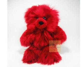 Real Super Baby Alpaca Suri Teddy  Bear Red Peruvian Stuffed Alpaca Toys -Handmade llama Fur toy -Alpaca stuffed animal from Peru
