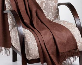 Chocolate 100% Baby Alpaca Throw Blanket -  Woven blankets made in Peru