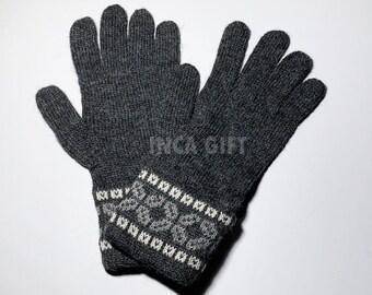 100% ALPACA - Charcoal Alpaca gloves handmade in Peru - Alpaca gloves for women -Peruvian Products