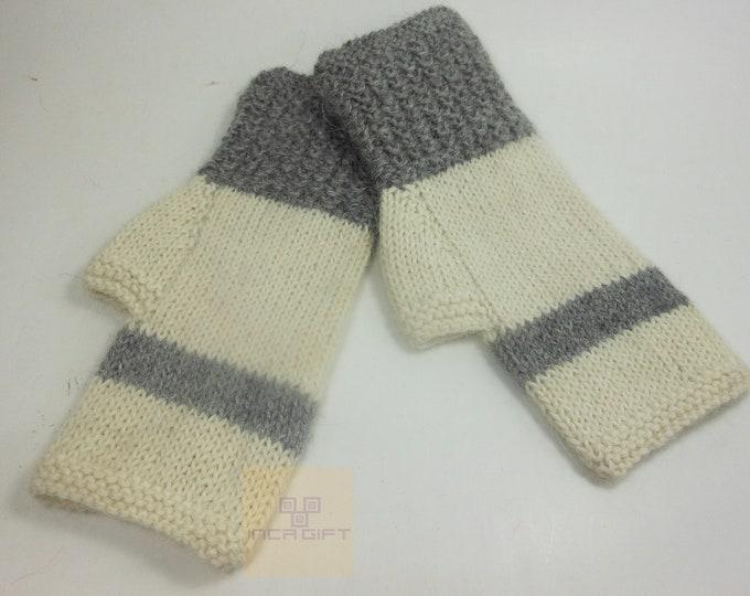Real alpaca fingerless gloves white- gray handmade in Peru - Alpaca gloves for women - Peruvian Products
