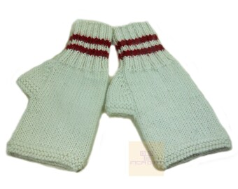 Real alpaca fingerless gloves white- handmade in Peru - Alpaca gloves for  women  Gloves fancy for texting stripped  -Peruvian Products