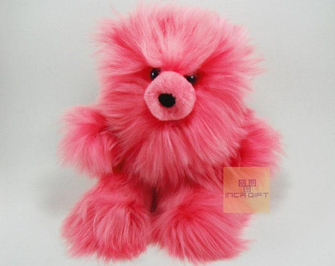 10 IN - 13 IN Real Super Baby Alpaca Suri Teddy  Bear Pink Peruvian Stuffed Alpaca Toys -Handmade Fur toy -Alpaca stuffed animal from Peru