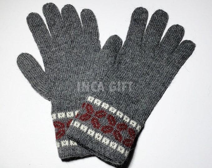 100% ALPACA - Gray Alpaca gloves handmade in Peru - Alpaca gloves for women -Peruvian Products