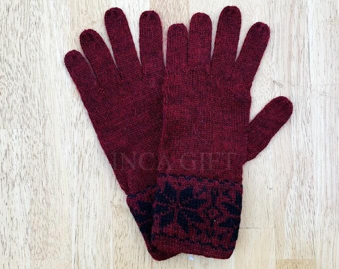 100% ALPACA -Burgundy Melange alpaca gloves handmade in Peru - Alpaca gloves for women -Peruvian Products
