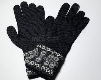 100% ALPACA -Black Alpaca gloves handmade in Peru - Alpaca gloves for women-Peruvian Products