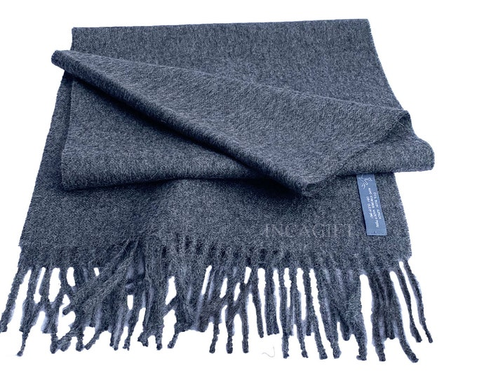 100% Baby Alpaca Scarf  - Gray Peruvian Handmade Scarf-  Solid Weave Brushed Scarf