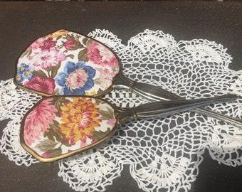 Vintage Multi-Flower Vanity Hand Mirror and Hair Brush