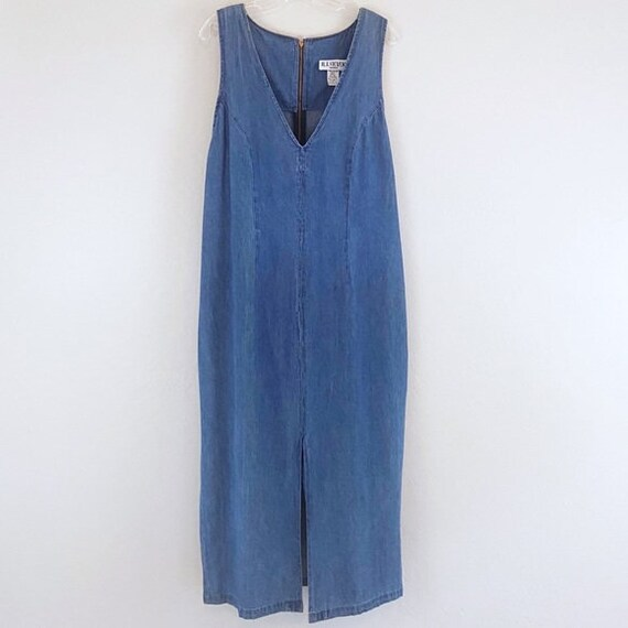 Vintage Denim Maxi Dress Plus Size Sleeveless Slit