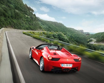 Premium High Gloss Art Print Poster. Ferrari 458 Spider 352P 24\u201dx36\u201d