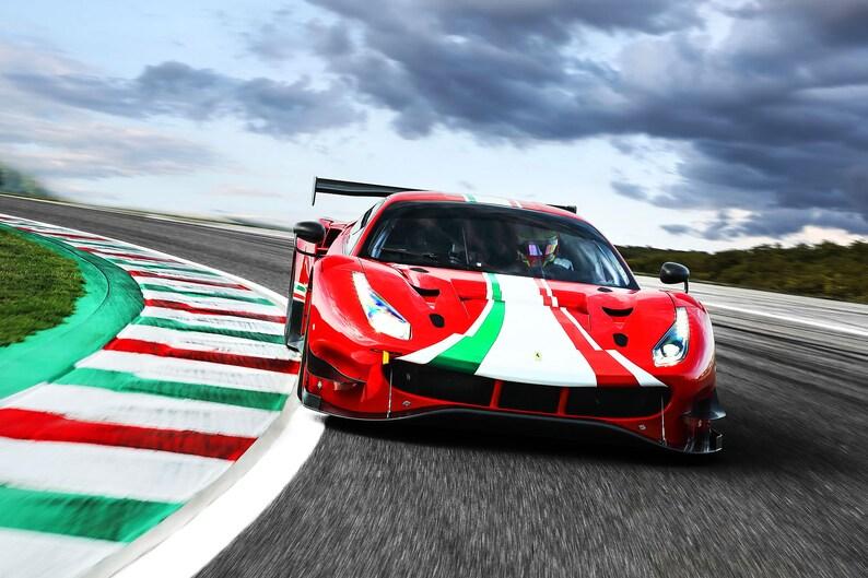 Premium High Gloss Art Print Poster. Ferrari 488 GT3 EVO 24\u201dx36\u201d 568P