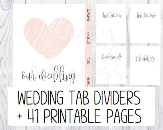 graphic about Printable Tab Dividers titled PRINTABLE Wedding day Developing Tabs Dividers AND Printable Aspect Divider Web pages / Marriage ceremony Developing Binder Webpages (41 Printable Internet pages/ 41 Tabs)