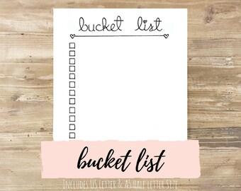 Bucket List: Bullet Journal Printable