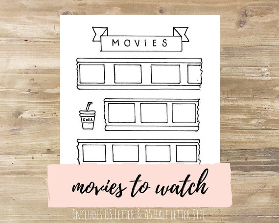 Movies To Watch Bullet Journal Printable Etsy