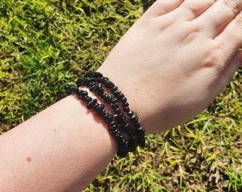 Black Obsidian Chip Elastic Bracelet ~ Gemstone Jewellery ~ Crystal Gift