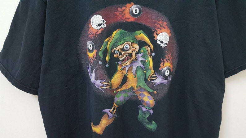 Vintage 90s SKULL CLOWN with 8 ball lucky horror art made in USA hype dope swag style t-shirt
