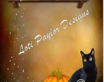 Digital Paper, All Hallows Eve, Halloween, Samhain,  Digital scrapbook, printable, stationary, Black Cat, Digital illustration