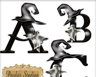 Digital Scrapbook kit, Digital Alphabet, Haunted, Ghost, Halloween, clip art,  Digital Letters, Digital Clip art, printable crafts