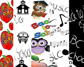 Digital Scrapbook kit, Back to School, Digital Paper, embellishments, Clip art, Digital Scrapbooking, Digital clip art
