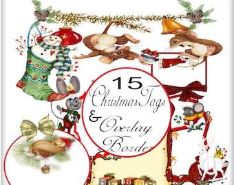 Digital scrapbook kit, Merry Christmas, Digital illustration, Clip art, Digital Journal, Printable Crafts, Card making