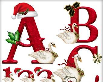 Digital Scrapbook kit, Digital Alphabet, Christmas, Swan, Clip art,  Digital Letters, Christmas, Digital Scrapbooking, Printable crafts