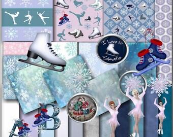 Digital Scrapbook kit, Ice Skating, Clip art, Digital paper, Alphabet, Printable crafts, Winter Sports, Stationary, Card Making