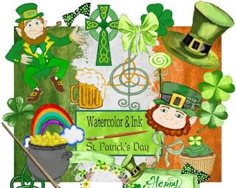Digital Scrapbook kit, Saint Patrick's Day, Clip art, Digital paper, Watercolor, Celtic, Irish, Printable crafts, Digital illustration