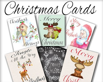 Digital Printable Christmas Cards set of 6 designs, instant download, Overlays Printable crafts, Christmas card front cover design