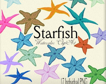 Digital Scrapbook, watercolor, clipart, Starfish, Nautical, Beach, printable crafts, card making, Stationary, Scrapbooking