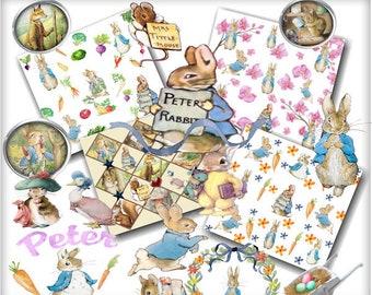Digital Scrapbook kit, Peter Rabbit and Friends, clip art, Digital Paper, download, Printable crafts, Greeting cards