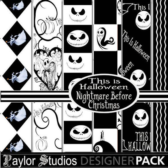 Nightmare Before Christmas Illustration.Digital Scrapbook Nightmare Before Christmas Clip Art Digital Alphabet Halloween Digital Paper Commercial Use Cu