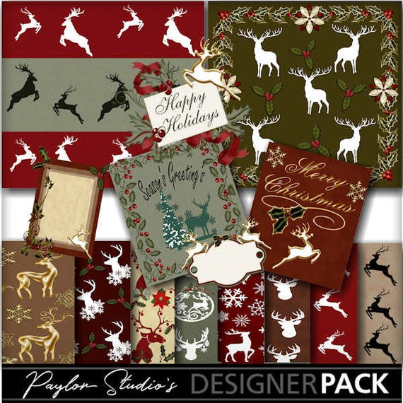 Digital Christmas Cards.Digital Scrapbook Kit Christmas Deer Digital Christmas Card Design Journal Cards Card Making Printable Crafts Digital Paper
