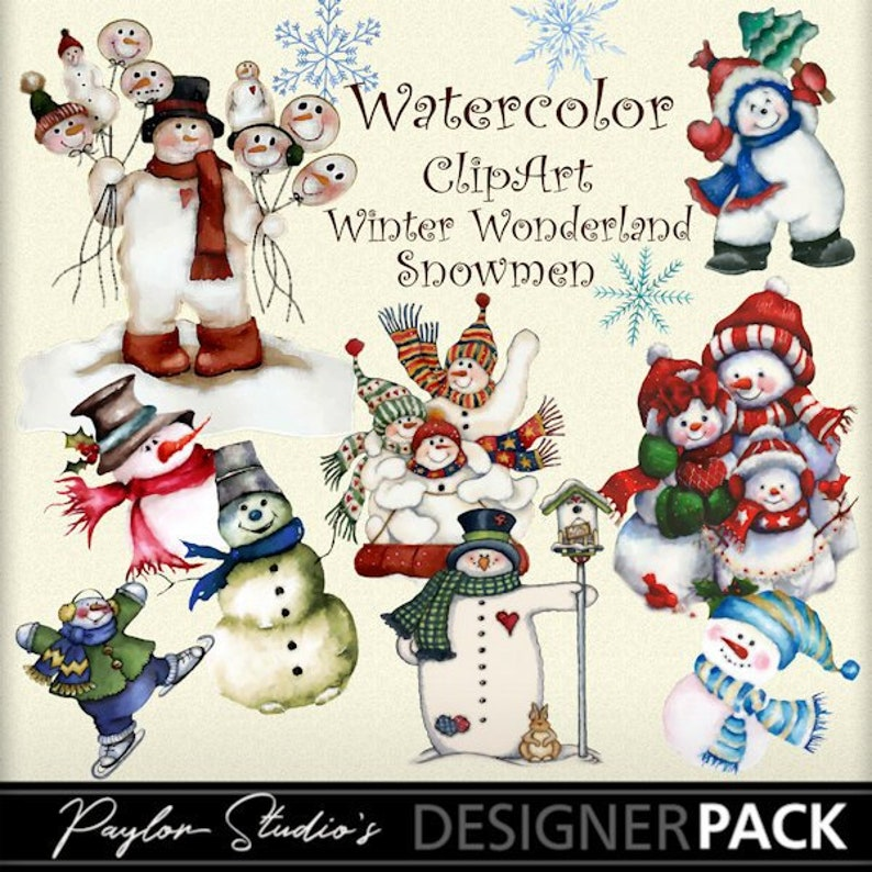 Watercolor Christmas Clipart Snowman Clipart Winter Wonderland Etsy