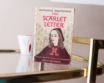 The Scarlet Letter by Nathaniel Hawthorne / Vintage Book 1946 / Classic Book American Fiction / Old Book Pages
