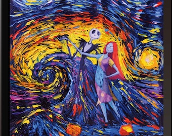 Vincent Van Gogh Starry Night Posters Jack Sally Jack and Sally Nightmare Before Christmas Canvas Wall Art Nursery Decor Wall Decor A005