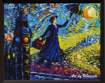 Vincent Van Gogh Starry Night Posters Mary Poppins Canvas Wall Art Nursery Decor Wall Decor A066